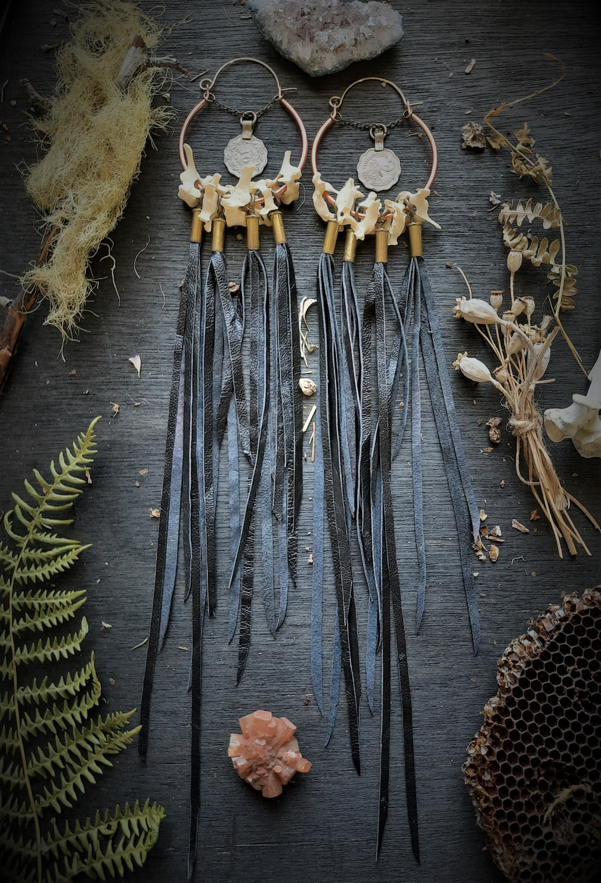 Image of Rabbit Vertebrae with 22 Casings, Leather Fringe, and Turkish Coins