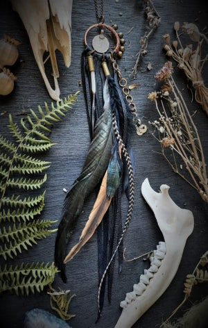 Image of Copper Necklace with Porcupine Quill, Chicken Feathers, and Turkish Coin