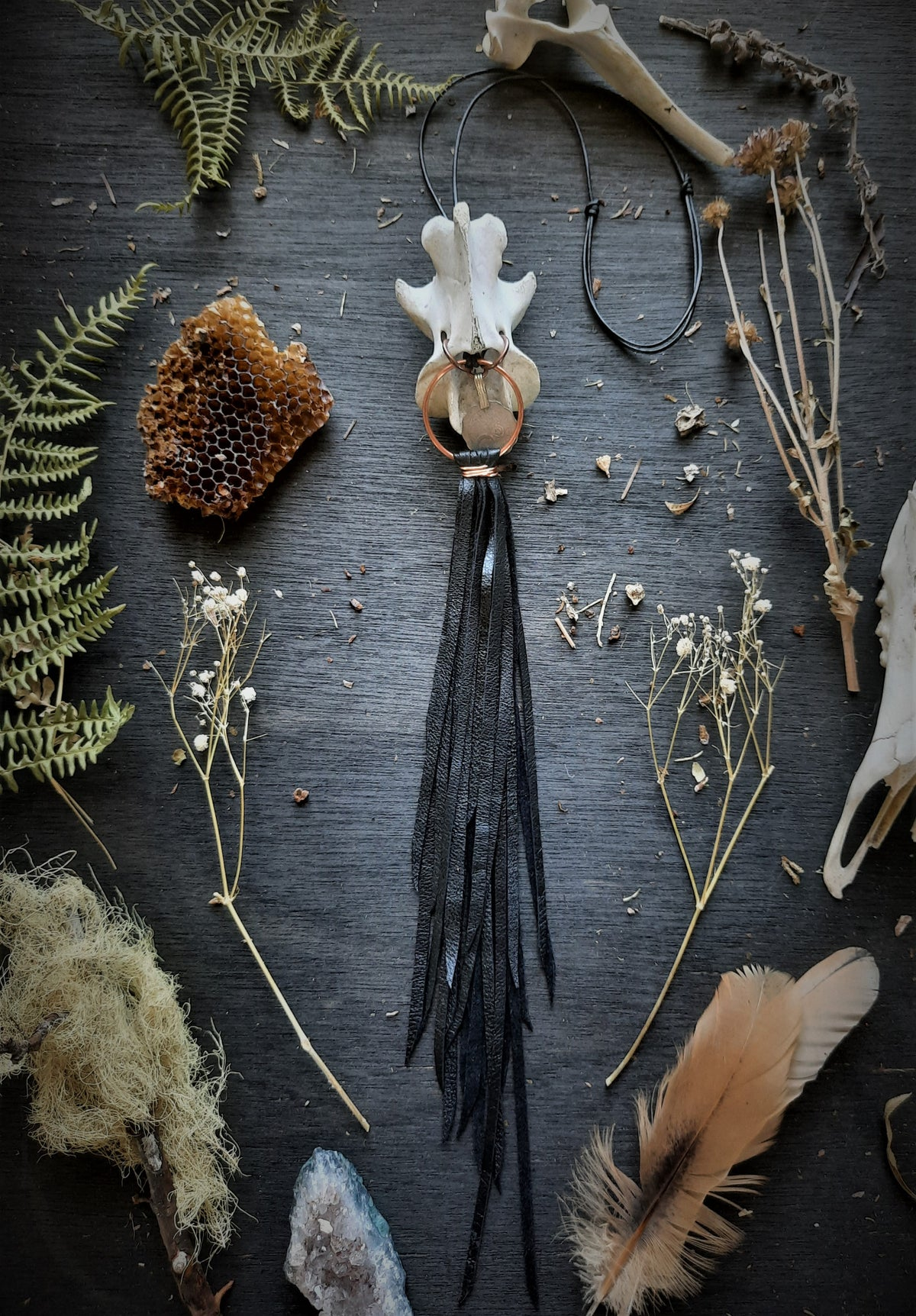 Image of Deer Axis with Turkish Coin and Leather Fringe Necklace