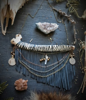 Image of Deer Rib with Leather Fringe, Chains, Turkish Coins, Quartz Crystal, and Bells