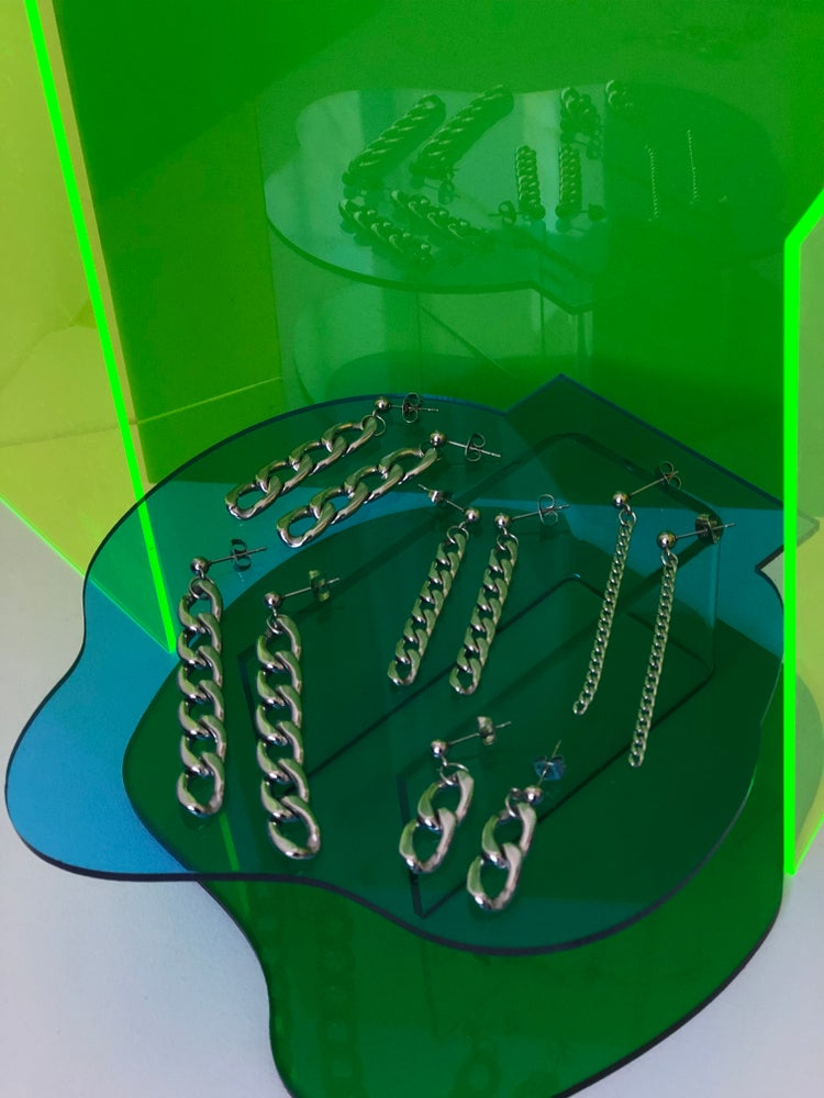 Image of LONG CHAIN STUD EARRINGS FROM $25 - $45