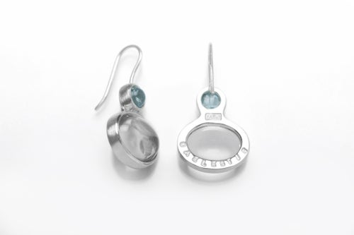 """Image of """"Sky water"""" silver earrings with aquamarines and rock crystals  ·  AQUA CAELESTIS  ·"""