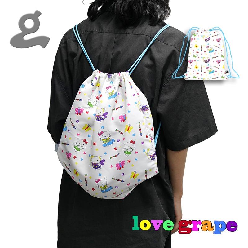Image of Grape Kitten Drawstring Bag