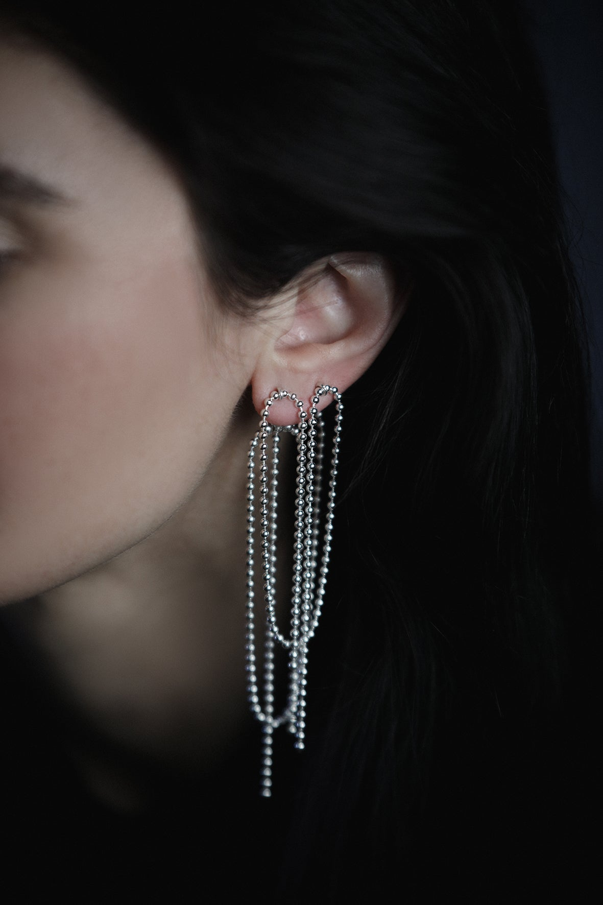 Image of SIMPLE SILVER double front+back earrings