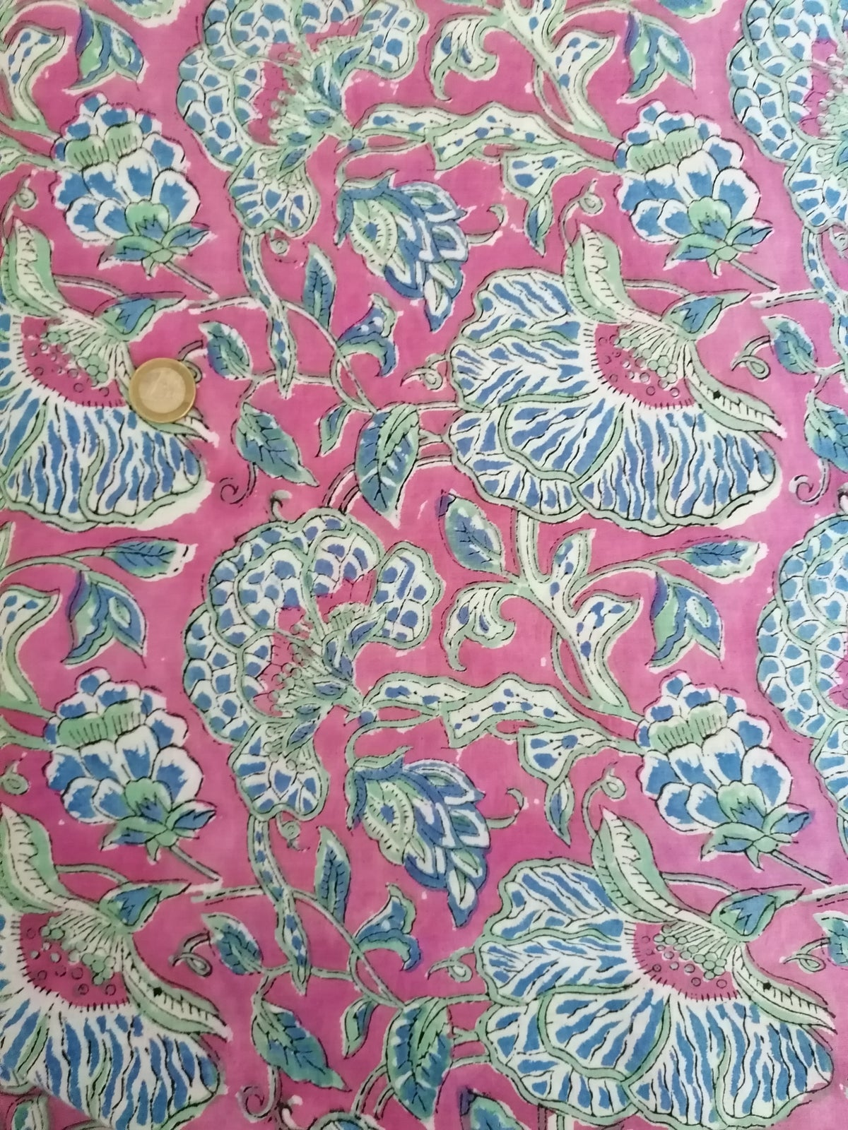 Image of Namasté fabric anémone bleue
