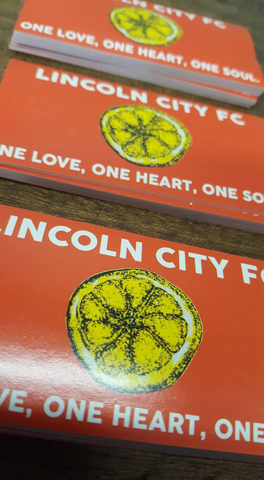 Pack of 25 8x4cm Lincoln City One Love Football/Ultras stickers.