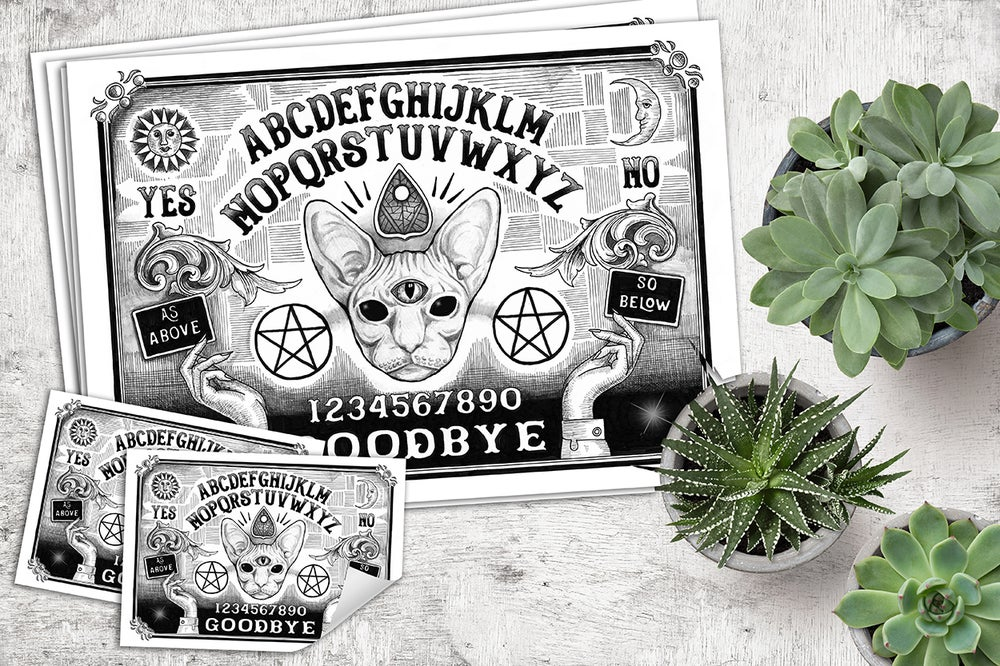 """Image of """"Ouija Board"""" limited edition signed print and stickers"""