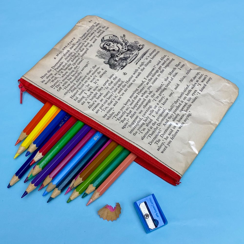 Image of Mad Hatter, Alice in Wonderland Book Page Pencil Case