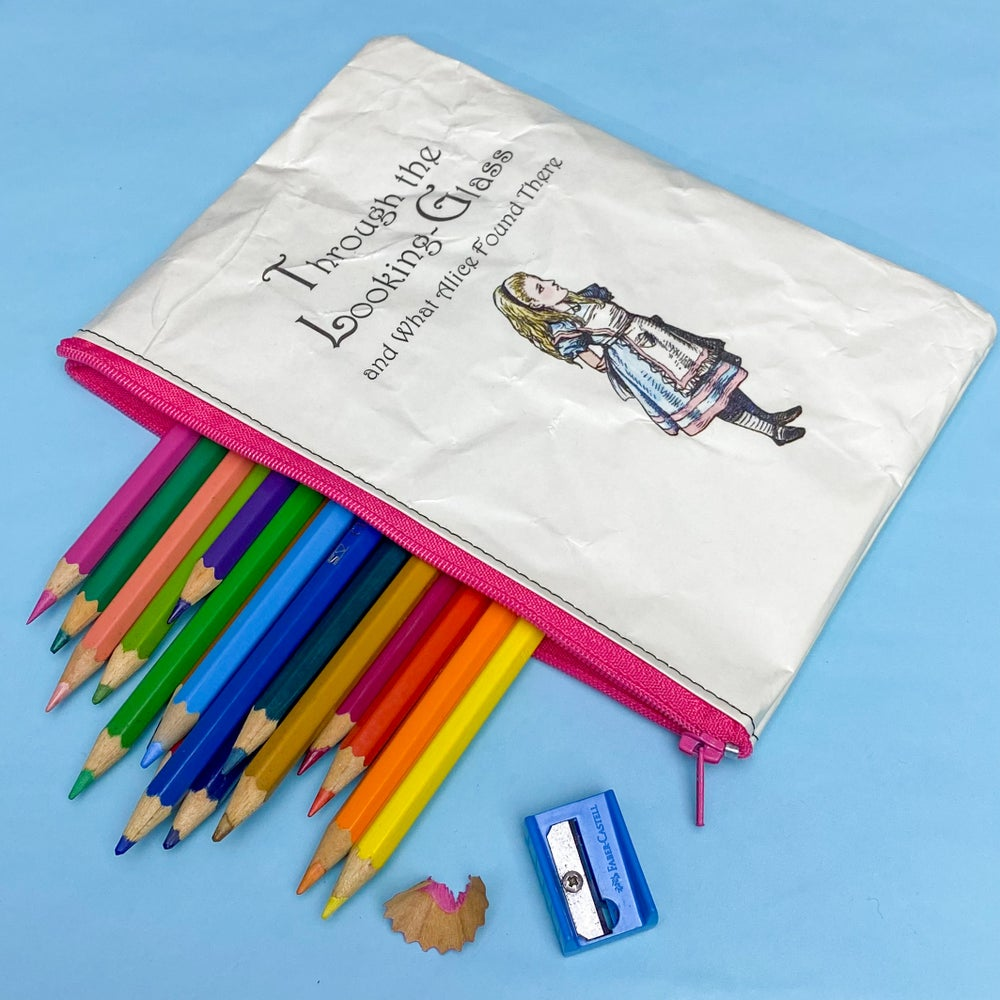 Image of Through the Looking Glass, Alice in Wonderland Book Page Pencil Case