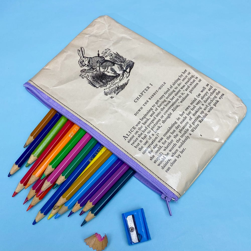 Image of Down the Rabbit-Hole, Alice in Wonderland Book Page Pencil Case