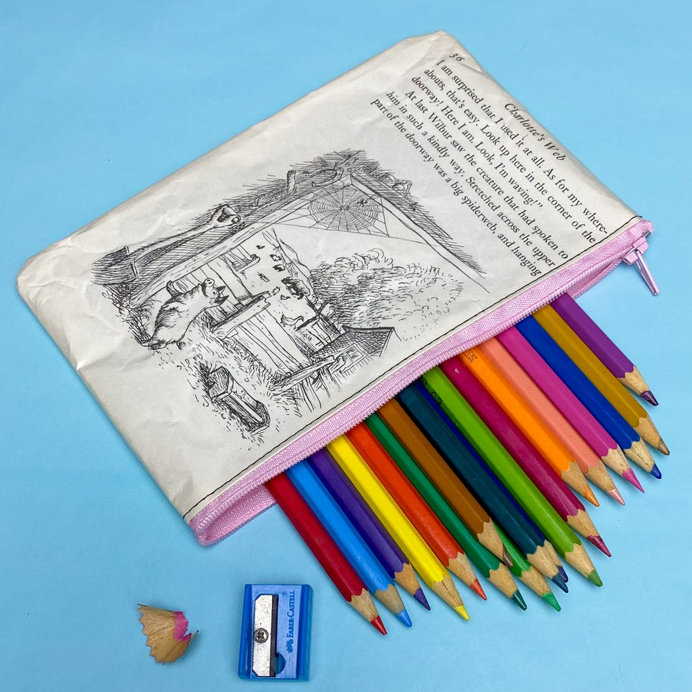 Image of Charlotte's Web Book Page Pencil Case