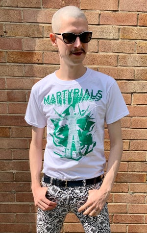 Image of 'CHAOS' T-SHIRT - WHITE / GREEN INK [ONLY 3 MADE]