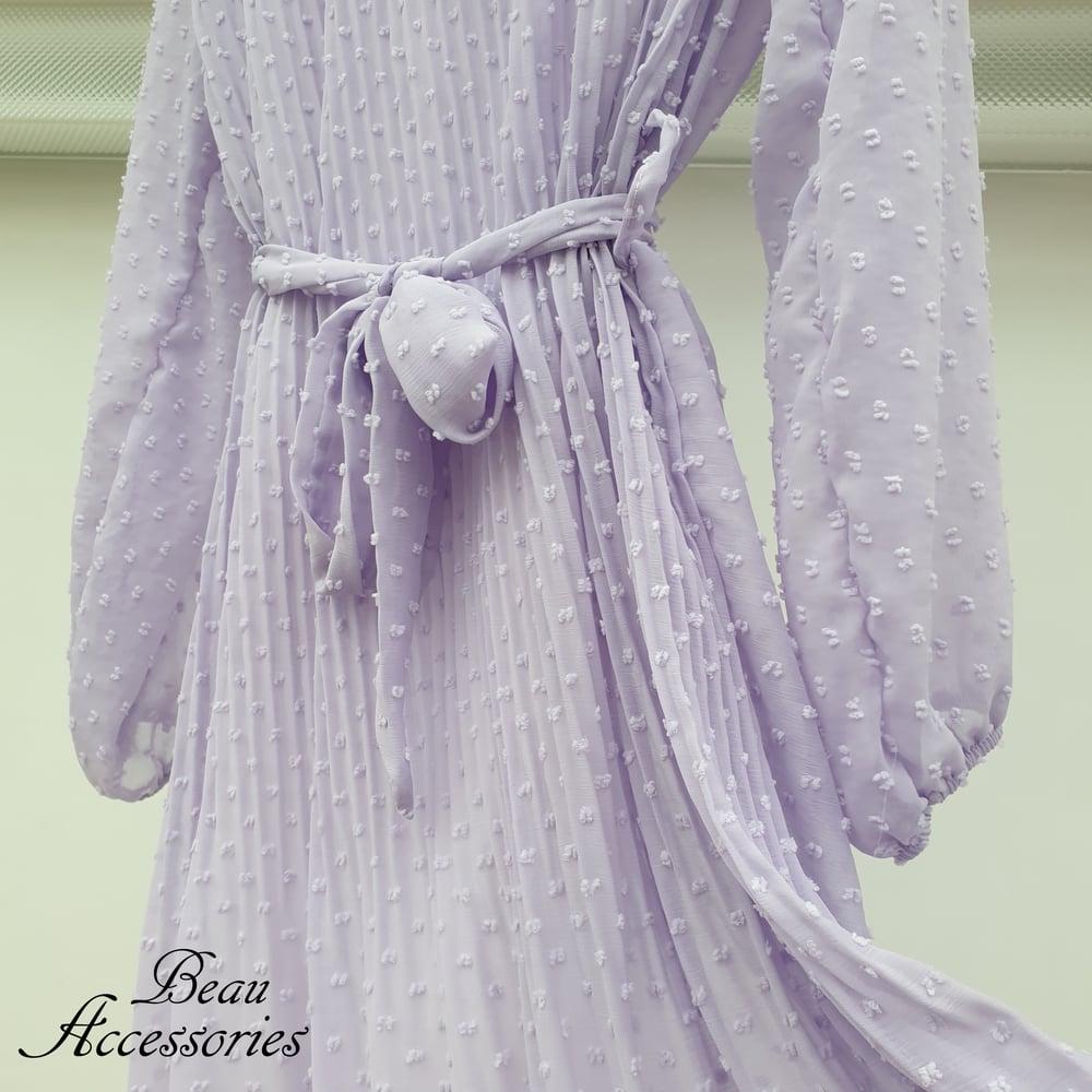 Image of Lilac Swiss Dott Pleated Maxi Dress