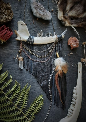 Image of Coyote Jaw with Quartz Crystal Teeth, Leather Fringe, Feathers and Chains