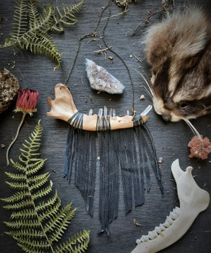 Image of Coyote Jaw with Quartz Crystals and Leather Fringe Necklace