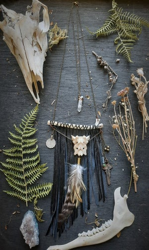 Image of Deer Rib with Tailbone, Leather Fringe, Crystal, Coins, Feathers and Key