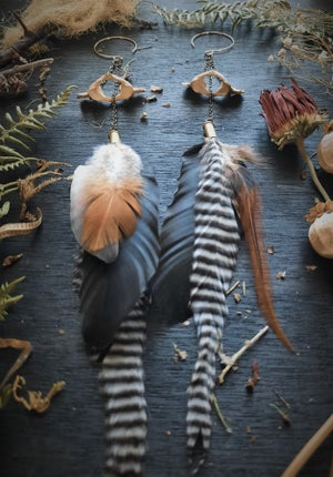 Image of Deer Neck Bone with Chicken Feathers Earrings