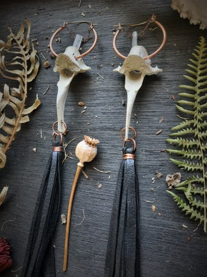 Image of Deer Vertebrae with Crystals and Extra Long Leather Fringe