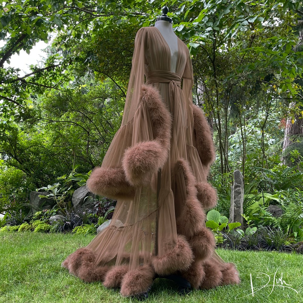 """Image of Discontinued """"Mocha"""" Deluxe Cassandra Dressing Gown"""