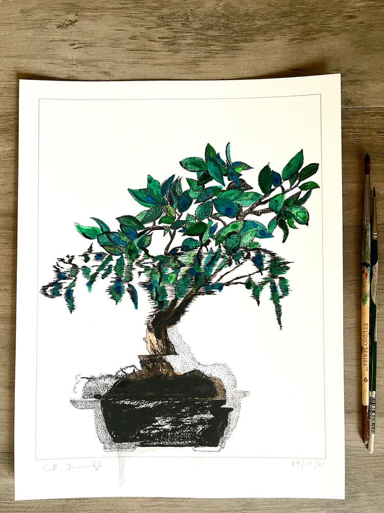 Image of 'Bonsai' + Hand Painted Watercolor Accents