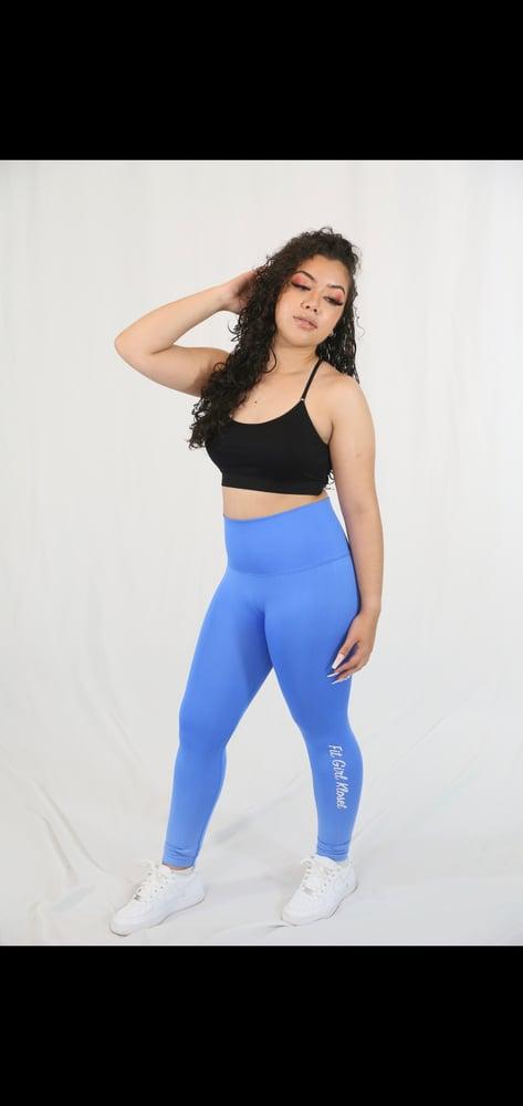 Image of Blue logo compression leggings