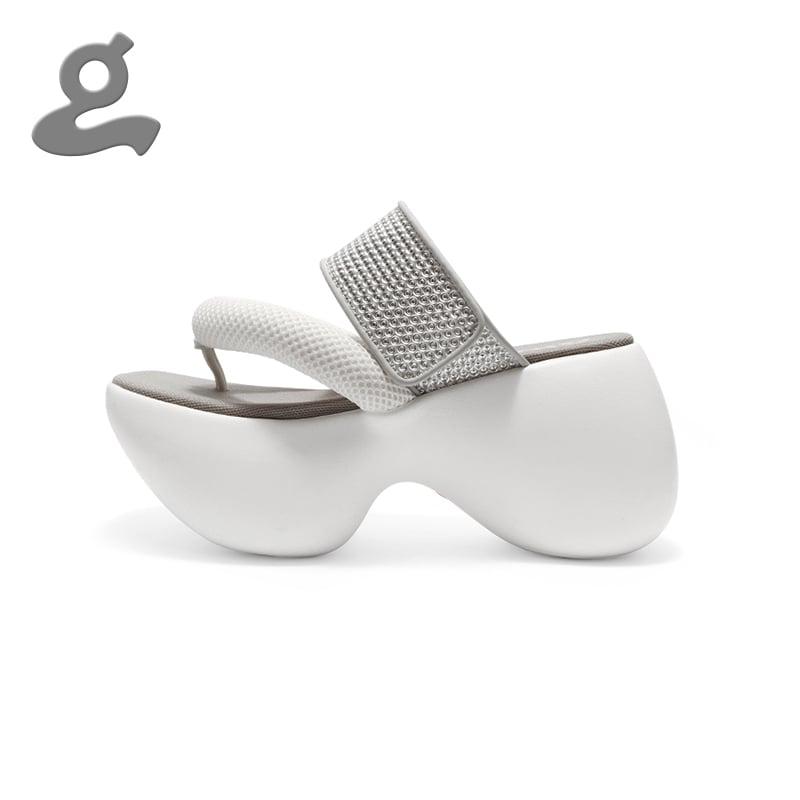 Image of White Platform Flip Flops 'Contrail'