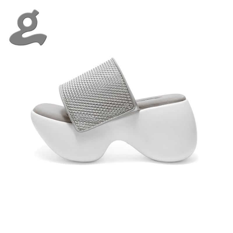 Image of White Platform Slippers 'Telstar'