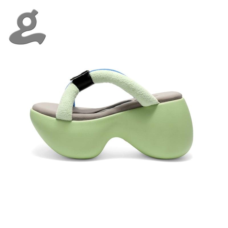 Image of Green Platform Slippers 'Portable'