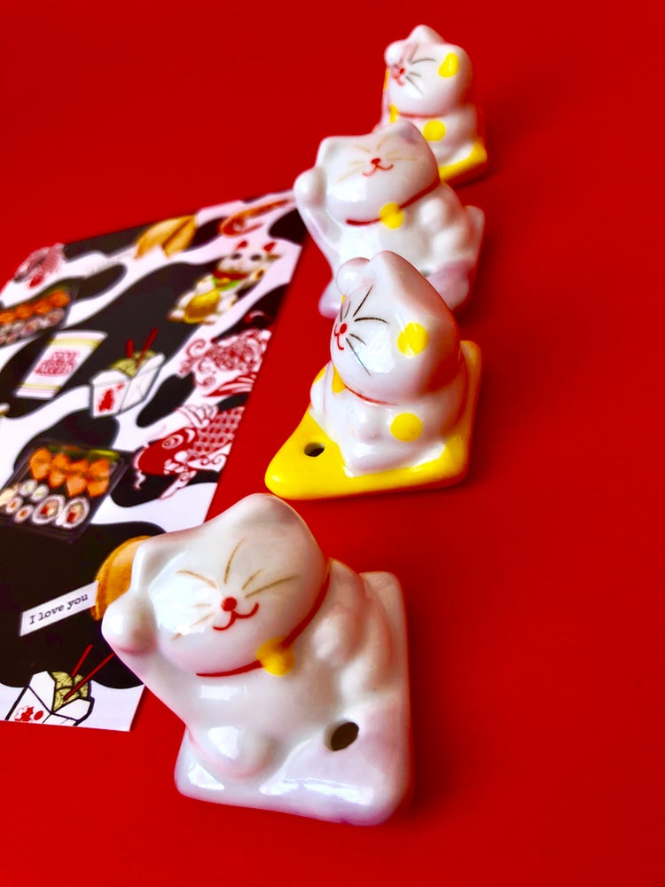 Image of LUCKY CAT INCENSE HOLDERS