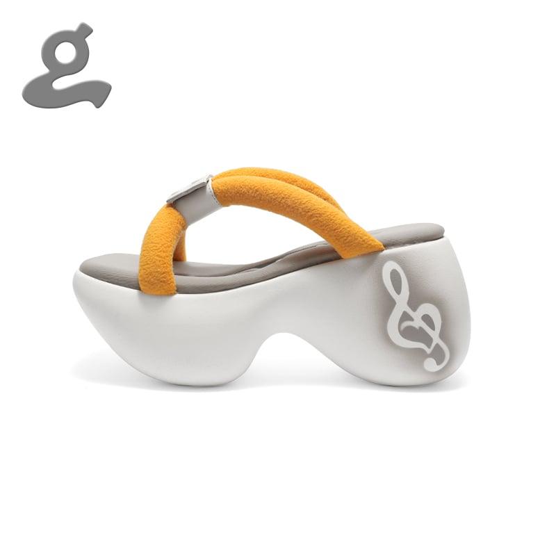 Image of Orange Platform Slippers 'Portable'