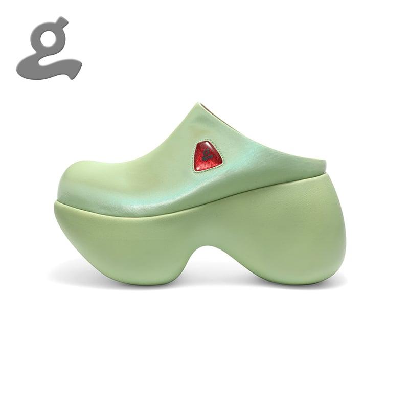 Image of Green Platform Slippers 'Capsule'