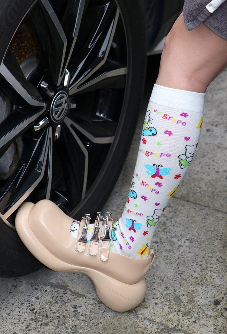 Image of Grape Kitten Socks