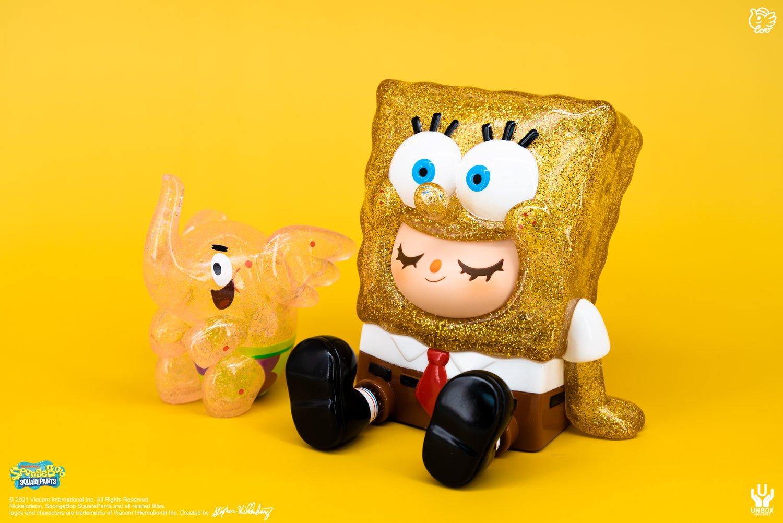 Image of SPONGEBOB GREENIE & PATRICK  ELFIE  (GOLD GLITTER EDITION)