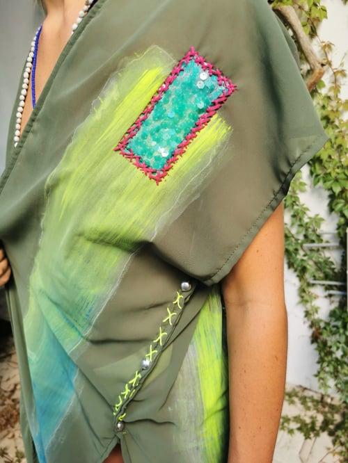 Image of Green Kimono Handpainted
