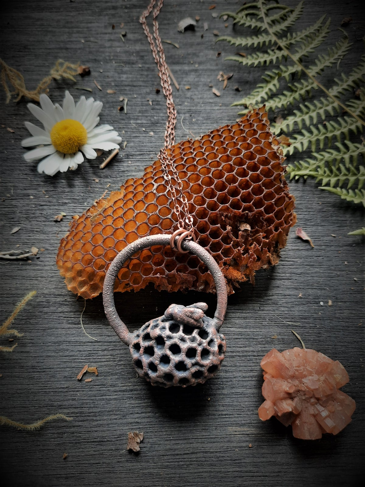 Image of Electroplated Honeycomb and Bee Necklace