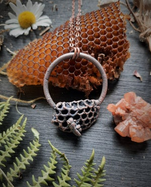 Image of Electroplated Honeycomb with Honeybee Necklace