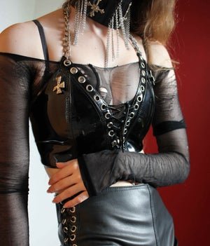 Image of MADE TO ORDER - KULTCHEN LACE UP VEST TOP IN BLACK PVC (Size XS-XL)