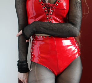 Image of MADE TO ORDER - KULTCHEN  CORSET HOTPANTS IN RED PVC (XS-XL)