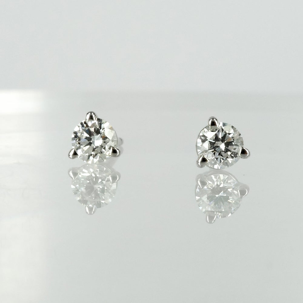 Image of 14k white gold diamond stud earrings, 2 = .30ct F/G SI total weight. PJ5821