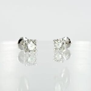 Image of 14k white gold diamond stud earrings, 2 = 1ct FSI2 total weight. PJ5825