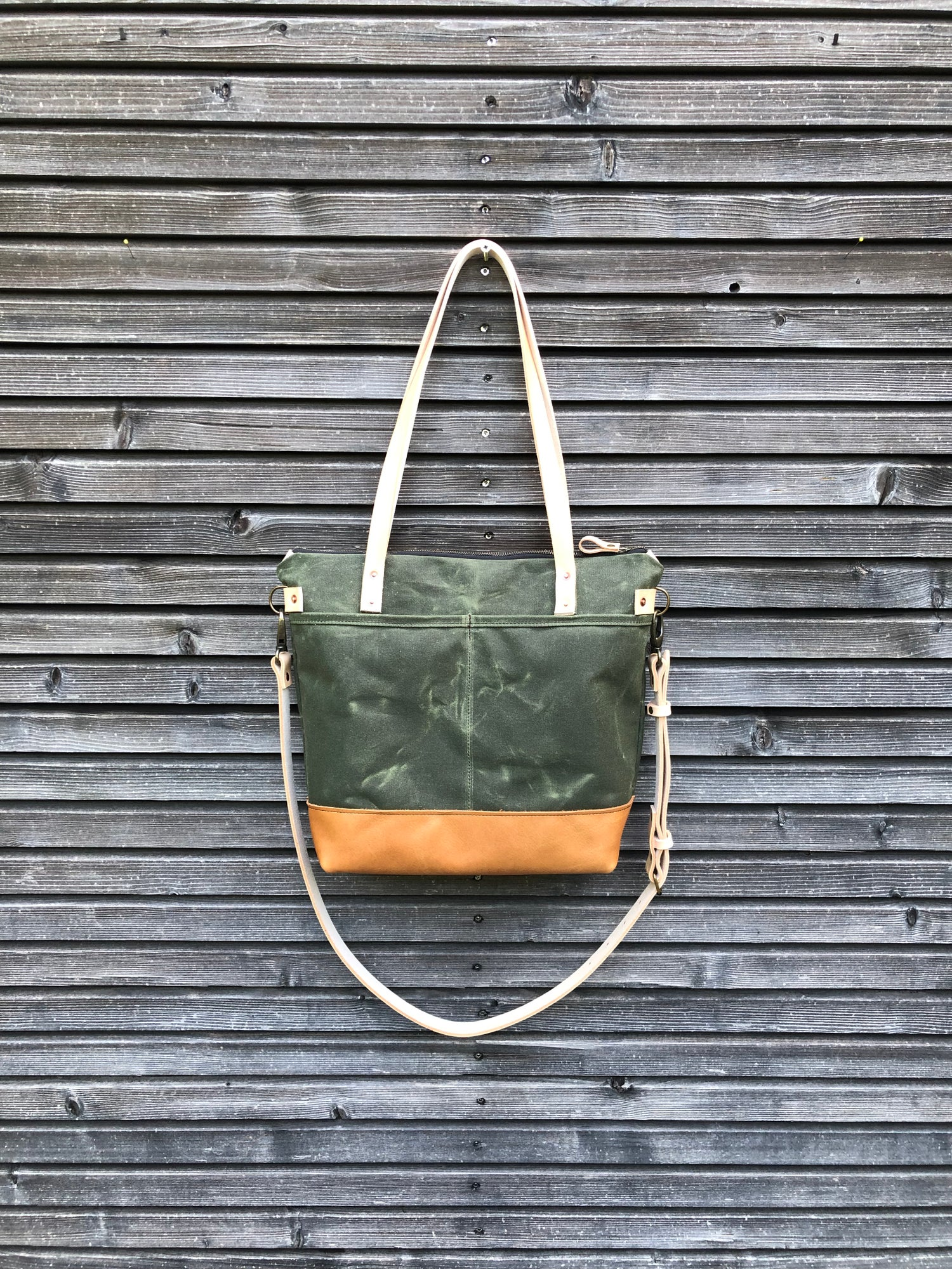 Image of Olive green waxed canvas tote bag / office bag with leather handles and shoulder strap