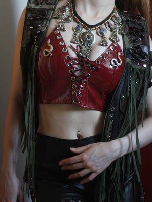 Image of MADE TO ORDER - KULTCHEN LACE UP VEST TOP IN OXBLOOD PVC (Size XS-XL)