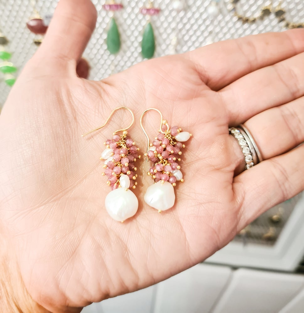 Image of Pink Quartz and Freshwater Pearl Cluster Drop Earrings