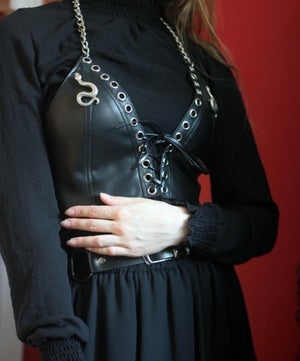 Image of MADE TO ORDER - KULTCHEN LACE UP VEST IN BLACK FAUXLEATHER (Size XS-XL)