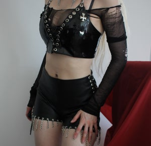Image of MADE TO ORDER - KULTCHEN CHAINED FAUXLEATHER SHORTS  (Size XS-XL)