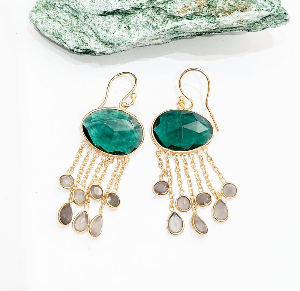 Image of Green Tourmaline and Labradorite Chandelier Earrings