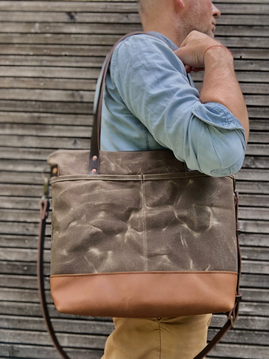 Image of Tote bag in field tan waxed canvas, with adjustable and detachable shoulder strap