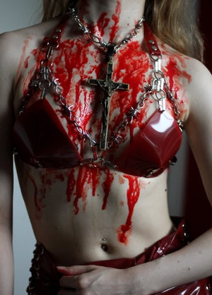 Image of MADE TO ORDER - CALIGULA BARBED WIRE BRALETTE IN RED PVC (Size XS - XL)