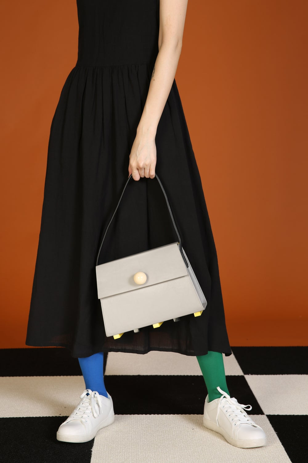 Long Trapezoid satchel bag • Grey with Top Handle