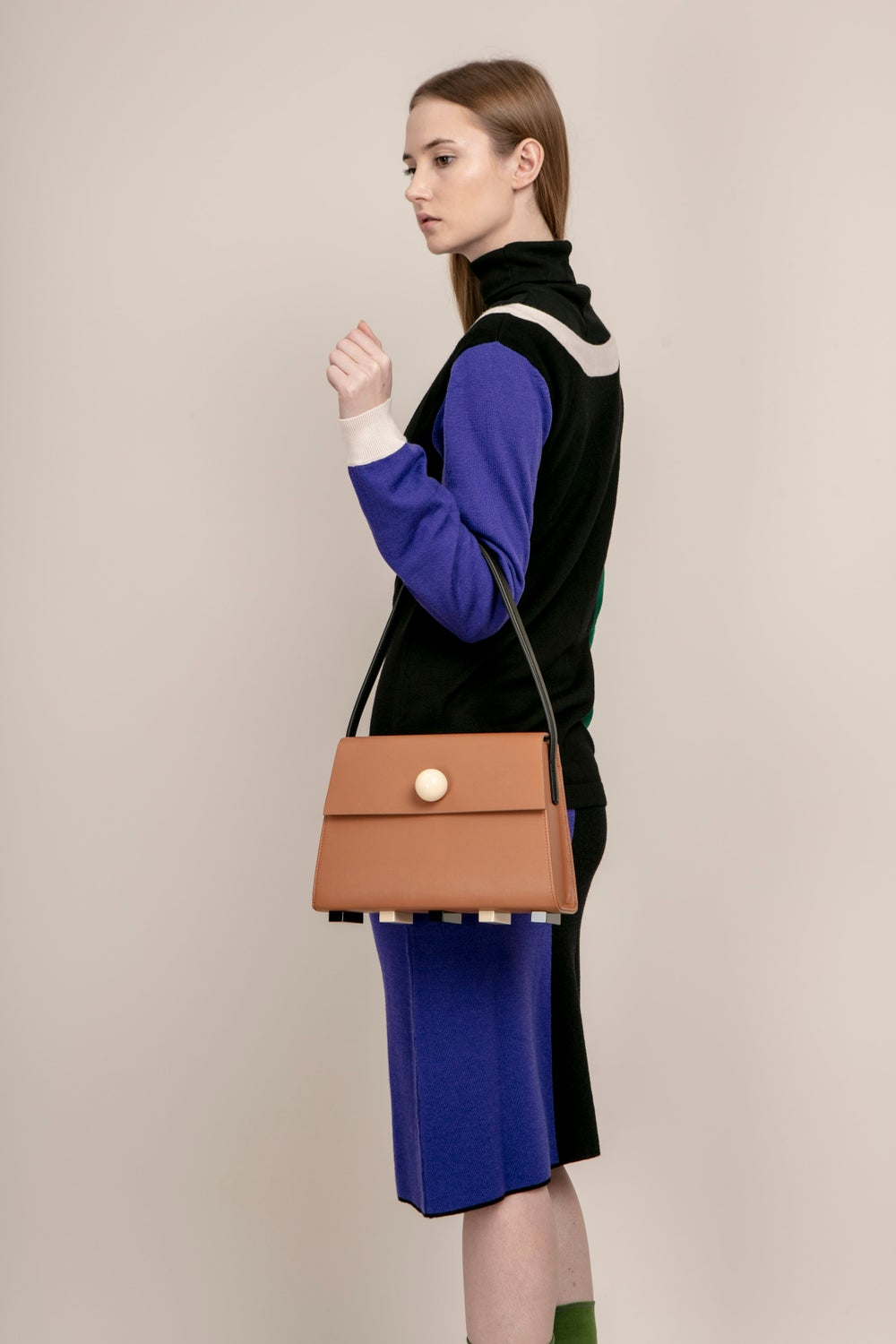 Long Trapezoid satchel bag • Brown with Top Handle